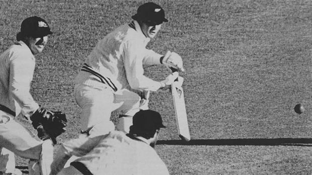 New Zealand batsman Martin Crowe in action against Australia at Lancaster Park on 21 March 1982. Rod Marsh is the wicket ...
