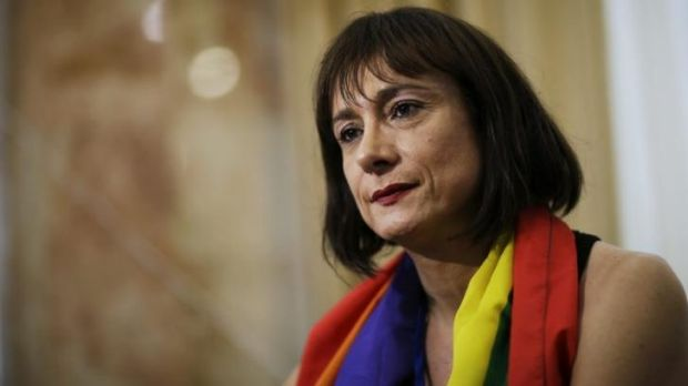 Detained: Vladimir Luxuria, a former Communist lawmaker in the Italian parliament and prominent crusader for transgender ...