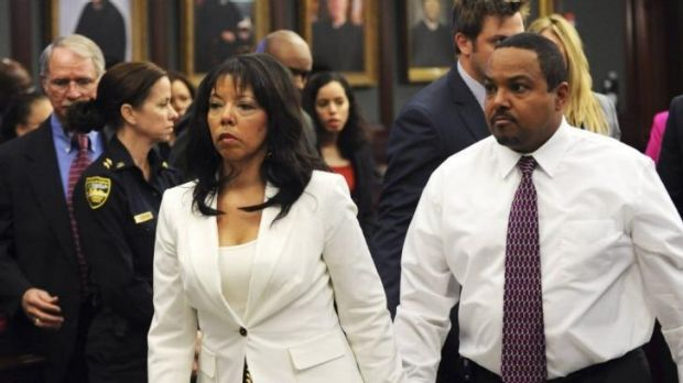 Jordan Davis' mother, Lucia McBath, leaves the courtroom with her husband Curtis McBath during the trial of Michael Dunn ...