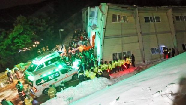 Rescue operation: The collapsed building in Gyeongju, South Korea.