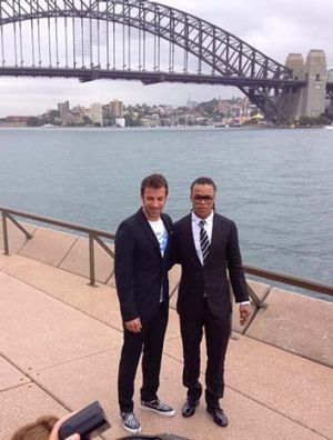 Reunited: Juventus legends Edgar Davids and Alessandro del Piero in Sydney on Tuesday.