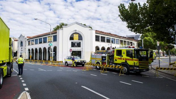 East Row and the Civic bus interchange are still closed following the fire in the Sydney Building on Monday.