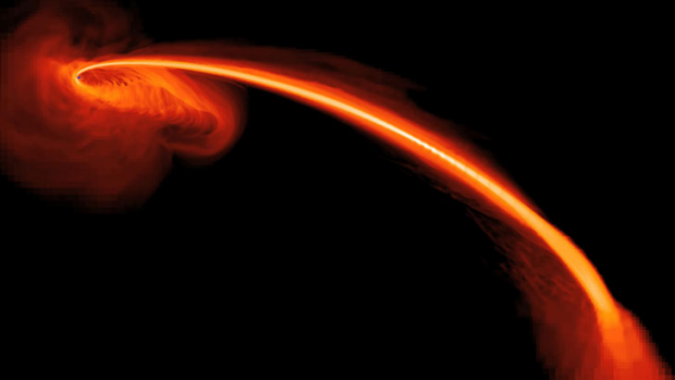 A computer-simulated image showing gas from a tidally shredded star falling into a black hole.