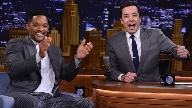 At the Rockefeller .... Actor Will Smith joins Jimmy Fallon on his debut on <i>The Tonight Show</i> as host since Jay ...