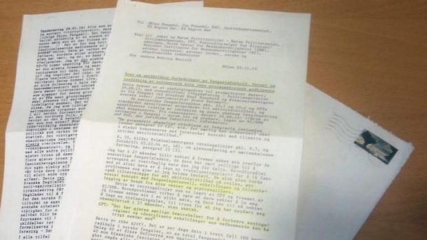 A letter from Breivik in which he threatens to start a hunger strike for improved prison conditions.