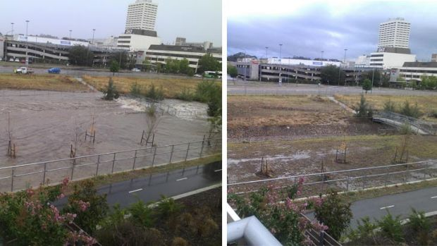 During and after shots of a storm water drain in Woden.