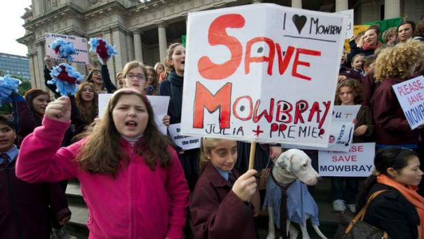 Students from Mowbray College protest on the steps of Parliament about the closure of the school after it was taken over ...