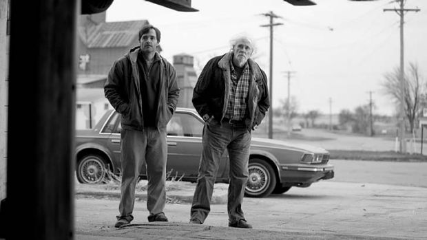 Compassionate: Bruce Dern and Will Forte as father and son in a scene
