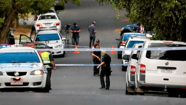 The scene at Omama Road in Murrumbeena where the bodies of a man and woman have been found.