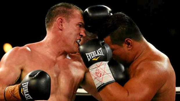 Impressive: Paul Gallen recovered from a shock knockdown to beat Herman Ene-Purcell in his debut pro heavyweight bout.