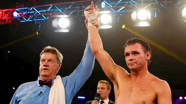 The winner: Daniel Geale celebrates victory over Garth Wood during the IBF Middleweight Pan Pacific title bout with ...