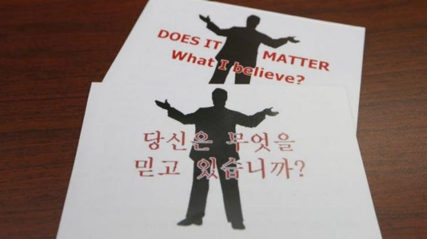 Prohibited in North Korea ... Korean-language Christian pamphlets that Australian missionary John Short was carrying to ...