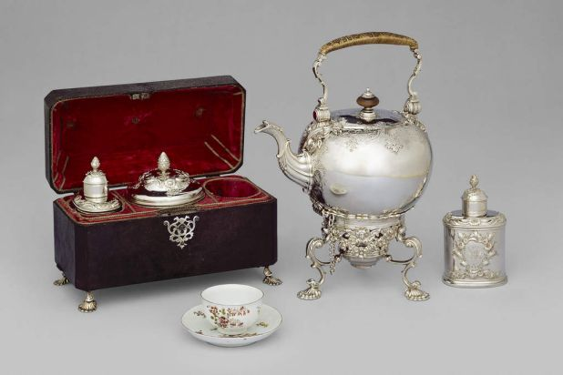 Tea caddy set 1749-50, silver, silver-gilt, sharkskin, velvet, silver brocade, NGV.