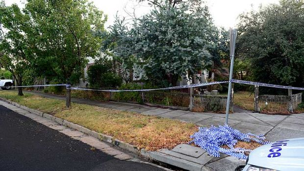 The scene at Murrumbeena this morning after the shock discovery of the couple's bodies on Wednesday afternoon.