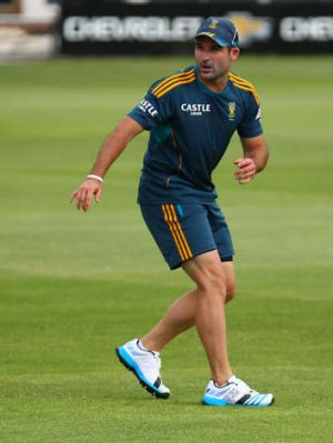 Dean Elgar during a South African training session.