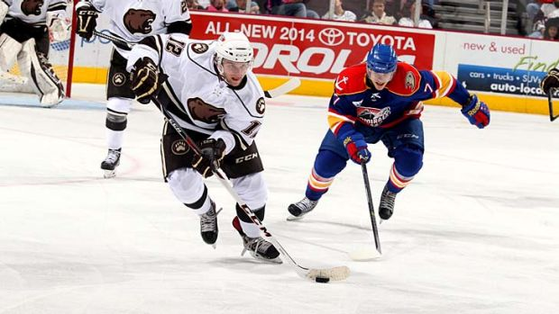 Nathan Walker breaks out of defence for the Hershey Bears.