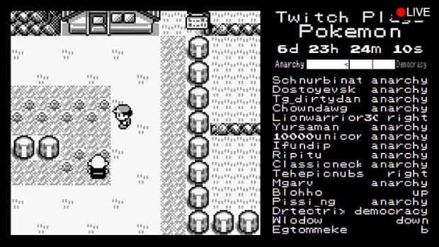 Chaos v progress: A screenshot of Twitch Plays Pokemon.