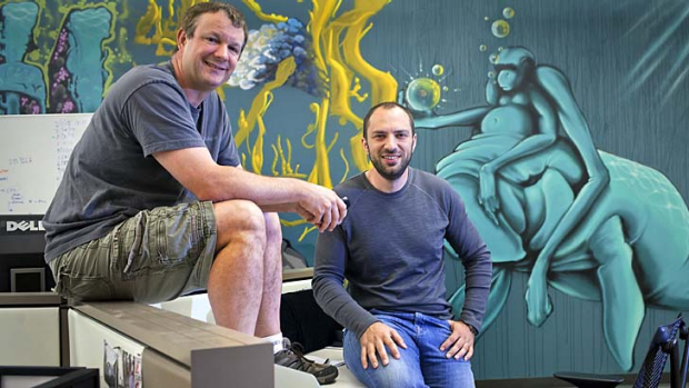 WhatsApp founders Brian Acton, left, and Jan Koum at the company headquarters in Mountain View, California.