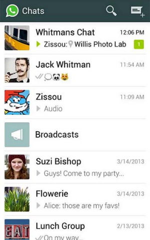 A screenshot of WhatsApp Messenger.