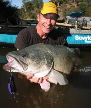 Bill Classon with a Murray Cod caught in the Yarra River.