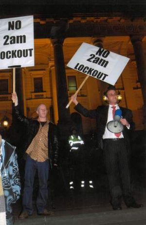 Speaking out … standing up against the Victorian government's proposed 2am pub lockout, 2008.