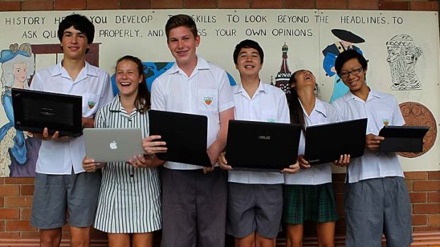 Well connected: (Left to right) Year 9 students Oliver Gorman, Isabelle Ryan, Eoin Boers, Matthew Merriman, Sophie ...