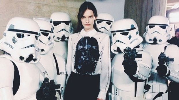 A model backstage at Preen with the Stormtroopers.