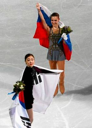 Upset: Russia's Adelina Sotnikova upset South Korea's favourite Kim Yu-Na in a controversial final.