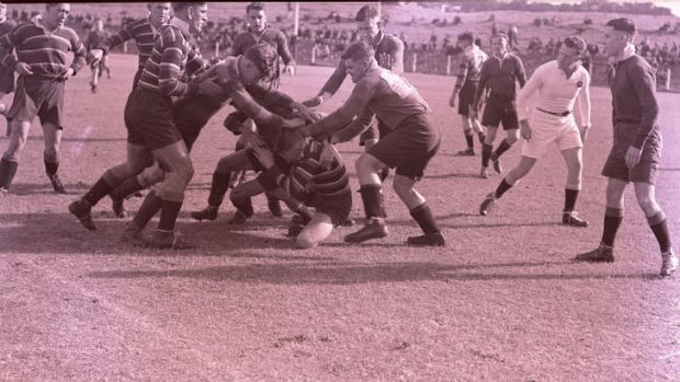 South Sydney and Eastern Suburbs battle it out at Sydney Sports Ground on April 13, 1935.