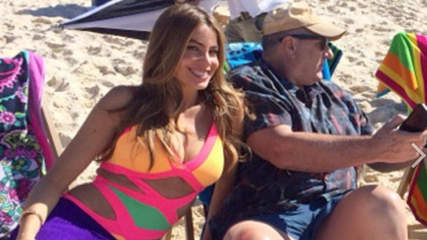 More relaxed ... Sofia Vergara appeared much happier to be filming on Bondi beach, with Ed O'Neill, posting this on WhoSay.