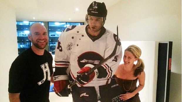 Matt and Sara Armstrong, with... Melbourne Ice star, and gold medal game party host, Matt Armstrong.