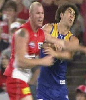 Barry's big hit: His clash with Brent Staker was the beginning of the end in Sydney.