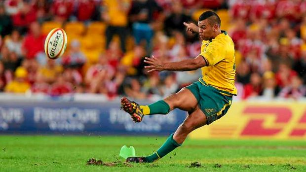 Why didn't James O'Connor take this kick?: Kurtley Beale slips at the vital moment of the first Test against the British ...