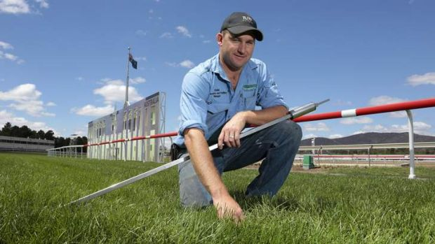 Thoroughbred Park racecourse and facilities manager Adam Ayre inspecting the condition of the track ahead of the Black ...