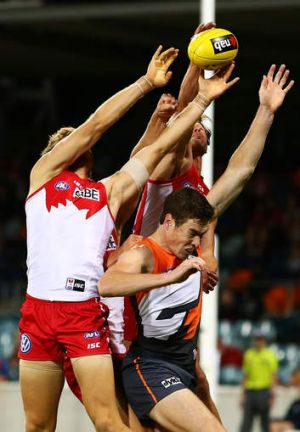 Cameron is swamped by the Swans defence in Canberra on Thursday night.
