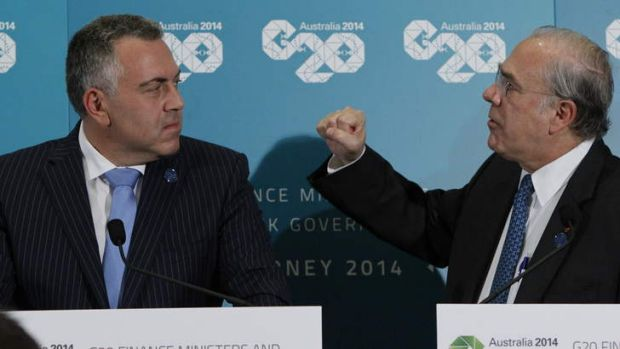 Joe Hockey and Angel Gurria speaking at a G20 press conference.