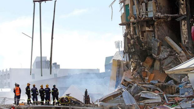 The collapsed CTV building in the centre of Christchurch.
