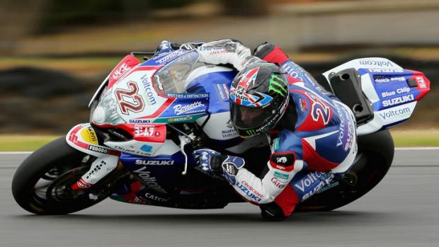 Alex Lowes of Great Britain and Voltcom Crescent Suzuki during practice ahead of round one of the 2014 World Superbike ...