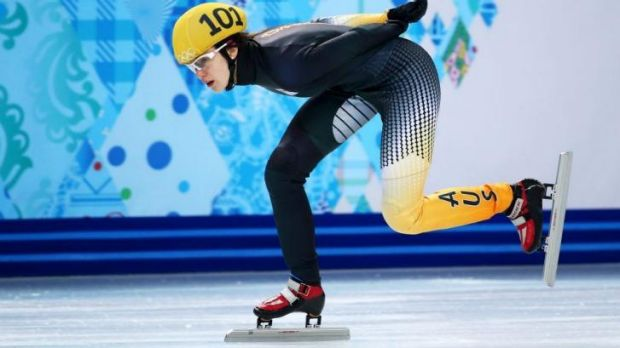 Talented teenager ... Deanna Lockett of Australia competes in the Short Track Women's 1000m Quarterfinals.