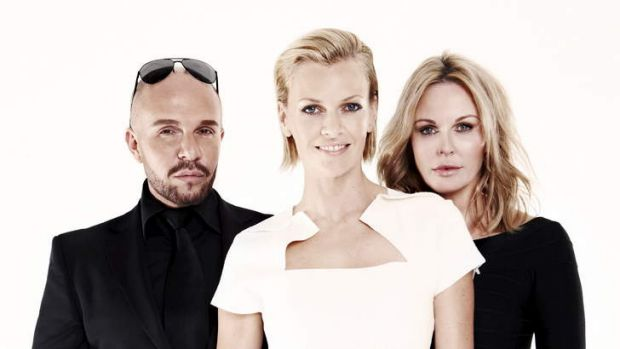 Charlotte Dawson (right) with fellow <i>Australia's Next Top Model</i> judges Alex Perry and Sarah Murdoch.