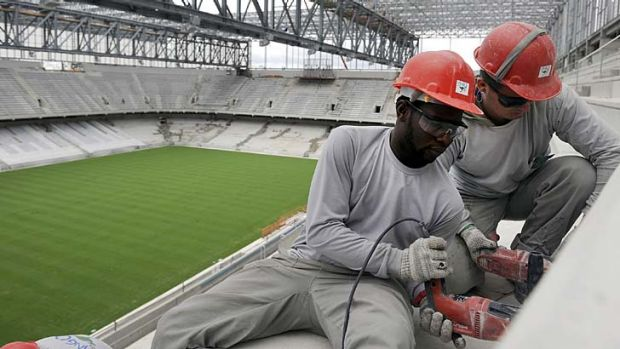 Construction work on the Arena da Baixada in Curitiba this week.