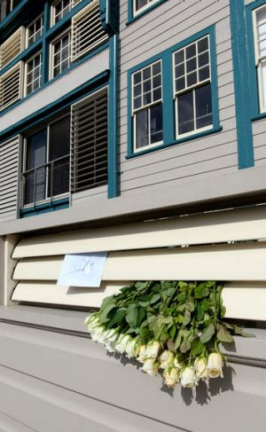 Flowers left outside Charlotte Dawson's Woolloomooloo apartment.