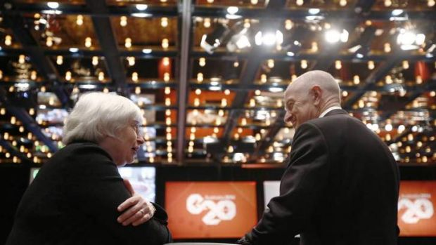 US Federal Reserve chair Janet Yellen meets Reserve Bank of Australia governor Glenn Stevens during the opening G20 session.