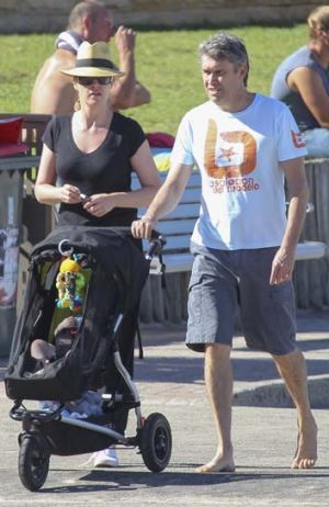 Leila McKinnon out with David Gyngell and son Ted.