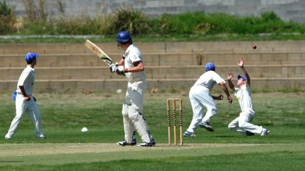 ANU batsman Michael Shafer gets a lucky break with a slips catch going begging against Queanbeyan on Saturday.