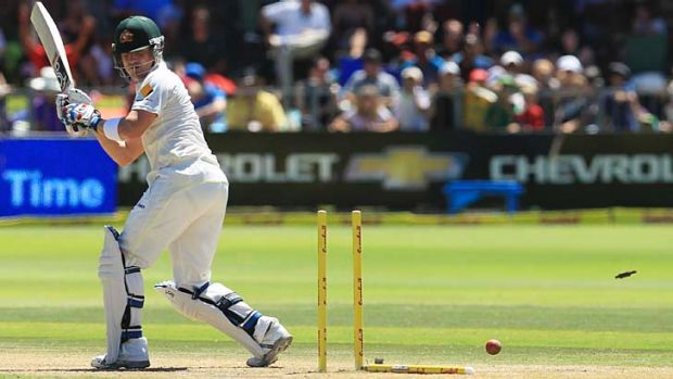 Brad Haddin has his middle stump uprooted by Dale Steyn.