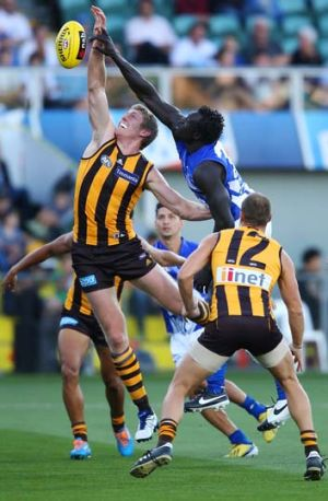 Majak Daw and Ben McEvoy contest the ball during Friday's match.