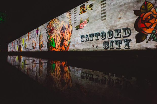 Tattooed City projections on the NGV international building. Photo by James Boddington