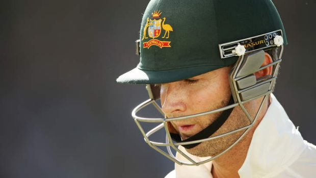 Michael Clarke of Australia leave the field after getting out to Dale Steyn  for one.