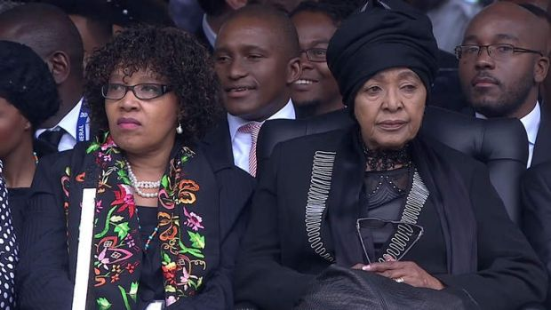 Nelson Mandela's daughter Zindzi, pictured with her mother Winnie at her father's funeral in December 2013, will attend ...